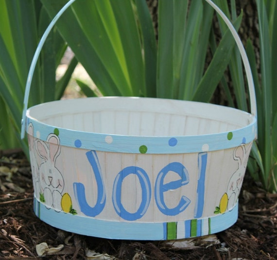 Hand Painted Easter Basket round WHITE with by abbycakesoriginals