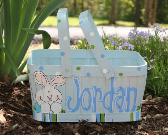 Painted Easter Basket Rectangle Blue With Green Color Scheme