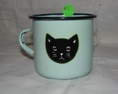 Vintage Graniteware, Enamelware,Blue Mug with Black Cat Face - 1