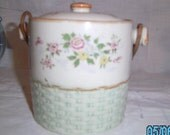 20% OFF Sale Vintage Shabby and Chic Biscuit/Cracker Jar  with Wicker Handle Made in Japan