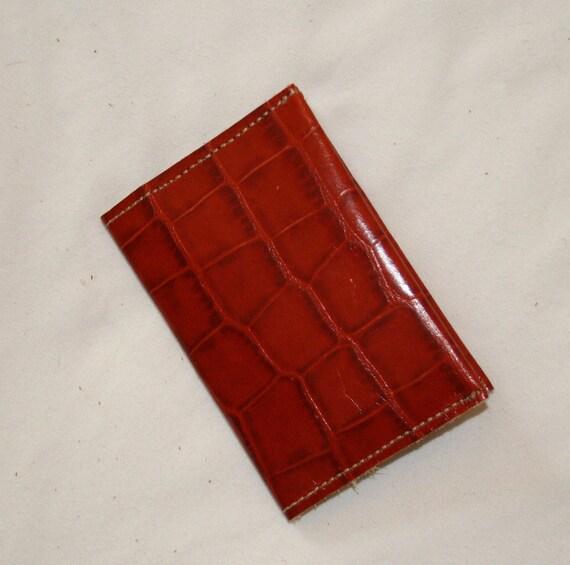 Simple Leather Wallet -Business Card Holder - Burnt Orange Crocodile Embossed Leather