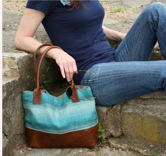 ELLIE - Classic Tote - Turquoise Aqua Navy Blue Stripe with Waxed Leather Base and Handles -Eco-Friendly - Spring Summer Tote
