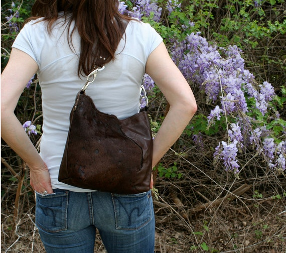 Leather Tote with Hair on Hide Detail -Medium- Espresso