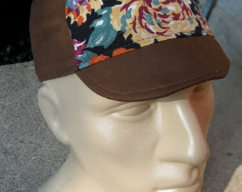 Cycling Cap - Warm Floral & Brown Cotton (Small/Medium)