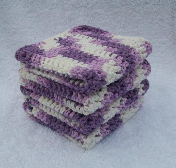 Set of Four Purple Cotton Crocheted Dishcloths or Washcloths