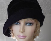 Ava, Fur Felt Cloche with side draped pleats, Black millinery hat