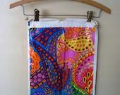 Vintage Paisley Dayglo Bag Psycadelic Neon Plastic Drawstring 1960