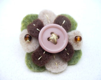 Felt Flower Brooch Handmade Gift Sage Green Dusty Rose