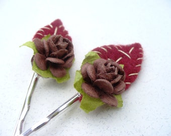 Rustic flower Bobby Pins Hair Clips felt handmade one of a kind gift
