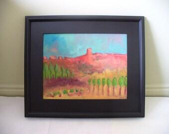Large Painting Framed Landscape Orange Red Rock Utah Southwestern Decor