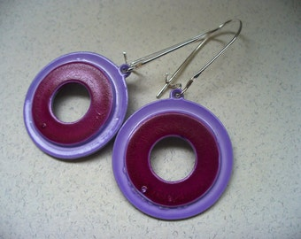 Vintage Enamel Earrings Purple Lilac Upcycled 1960's Pop Art Spring Fashion