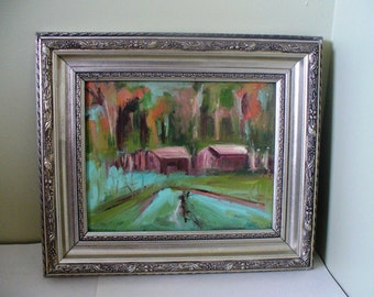 Framed original oil painting small art Utah artist Cabins by the lake