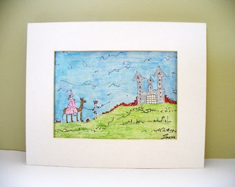 Princess Illustration Nursery Art Child Room Decor Castle Fairytale
