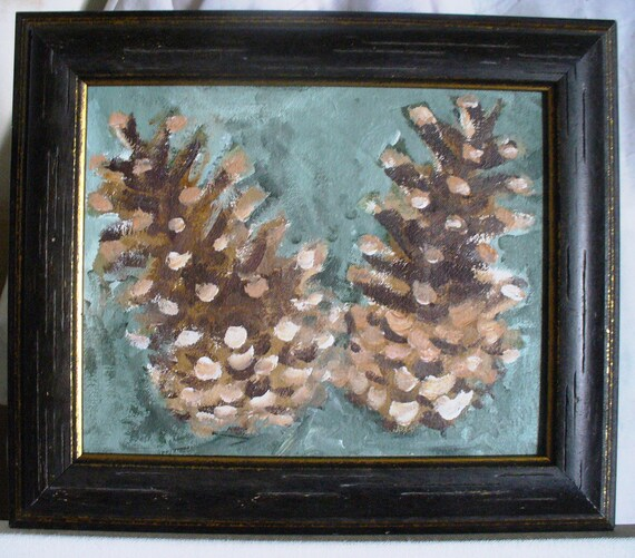 Pinecone Painting Art Framed Woodland Cabin Wall Art Sundance