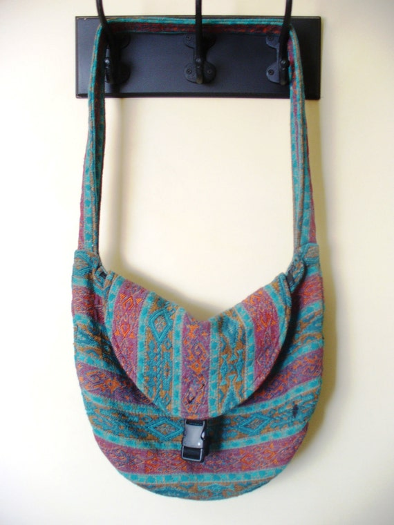 Vintage Hippie Tribal Purse Messenger Bag 1980 Turquoise Red