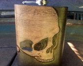 Skull Tooled Leather Flask