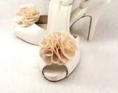 Gift Shabby Chic Ivory ruffle satin puff flower Weddings Shoe clips