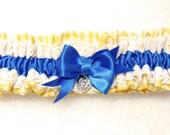 Bridal, Wedding Garter, Bridal, Charm, Lace Garter, Vintage, Yellow  Gingham and Royal Blue, White Lace