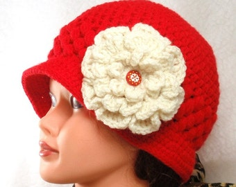 PDF- 2  PATTERNs - CROCHET Red  Beanie/cloche  and CROCHET Big white flower