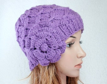 PDF- PATTERN- Knit Hat/ beanie w/ removable flower