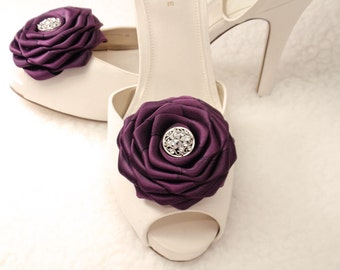 The Best Gift Shoe clips- Eggplant (Aubergine) color silky ribbon roses w/ crystal rhinestone
