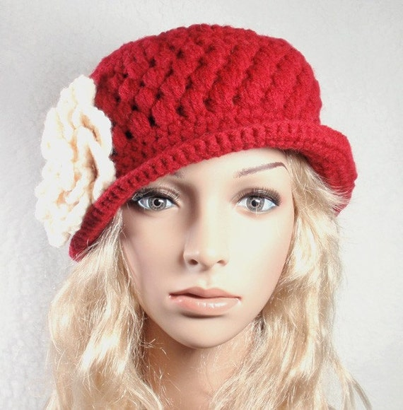 SALE- 30% OFF- Red Hat with brim  and removable  flower- ready to ship