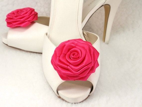 Bridal shoe clips Fuschia Ribbon Roses,Weddings and for any occasions