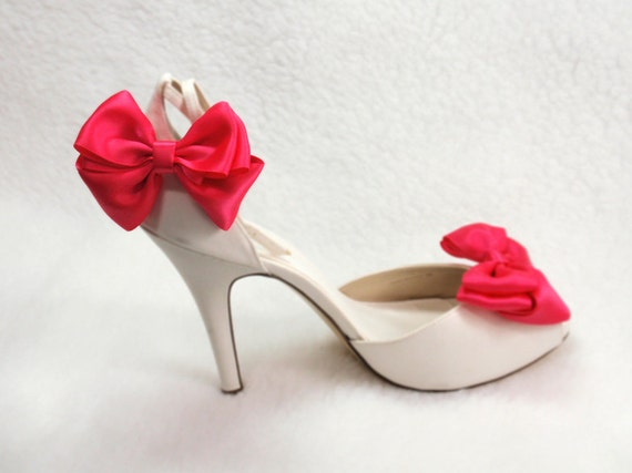 Shabby Chic  Bow, Shoe Clips Fuchsia  Ribbon Bow, Weddings and for any occasions, hot summer chic