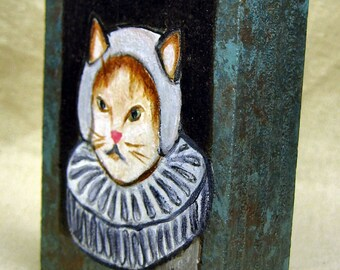 Dutch Cat - original painting on wood block