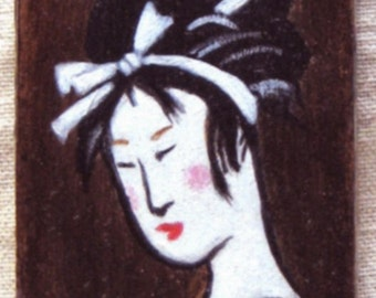 Geisha Girl -  painting and collage on small wood block
