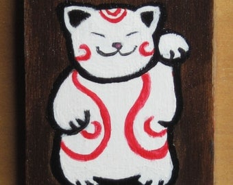 Happy Cat small painting and collage on wood block