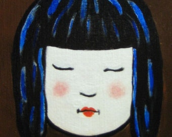 Asian Girl square painting and collage 6x6x2