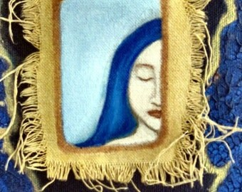 The Dreaming Window - Original Mixed Media Acrylic painting on canvas 8x10x.5