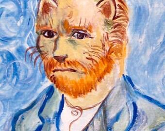 Van Gogh As A Cat - 4x6 digital photo print of art