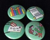 Set of Four Word Nerd Girl Scout Pins