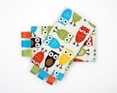 Sucking Pads - Drool Pads - Fits all Baby Carriers - Owls in Bermuda
