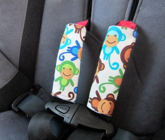 Car Seat Strap Covers (REVERSIBLE), Seat Belt Covers, Royal Monkeys