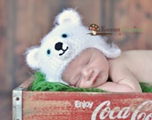 Polar Bear Hat and Diaper Cover set  Newborn photography prop