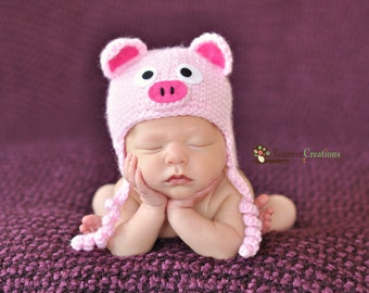 Lil Piggy Hat and Diaper Cover  newborn photography prop