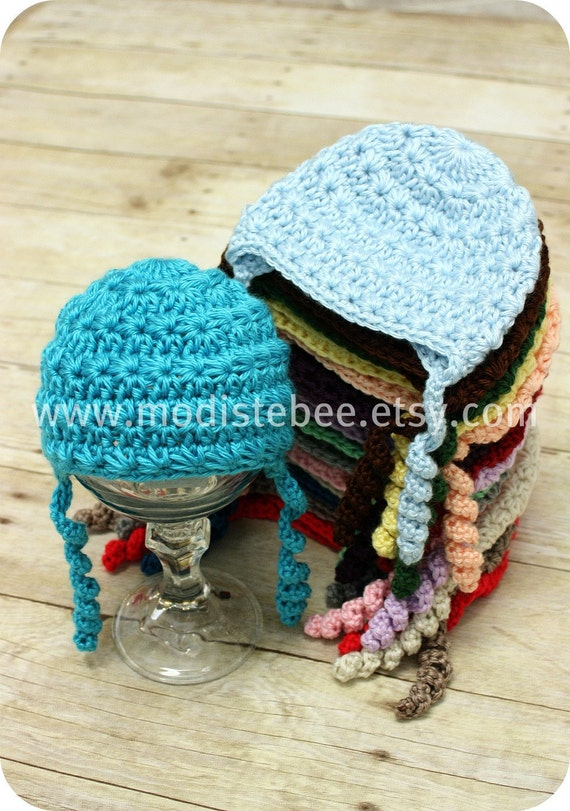 Simplify Collection in Blue Mint/ Crochet Beanie hat  Newborn photography prop