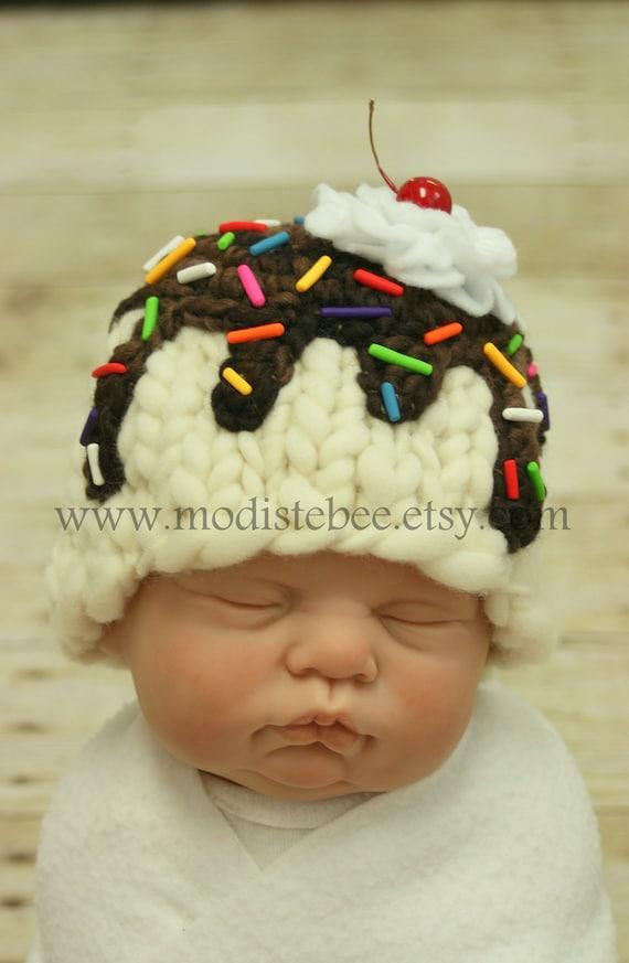 Ice Cream Sundae (Vanilla) Hat  newborn photography prop