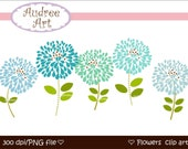 CLIPART. FLOWERS , Blooming 1 , Digital clipart Png,Jpeg File ,  instant download clip art