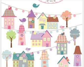 Digital clipart - little village 2 , house clip art, border clip art, instant download clip art