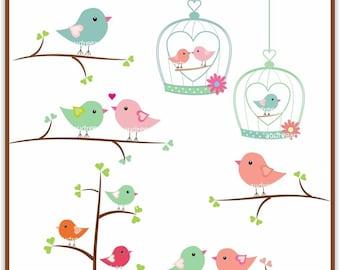 Clip art valentine, love birds on branches instant download clip art