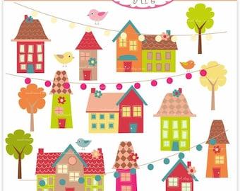 Digital clip art - little village ,  instant download clip art  , house clip art
