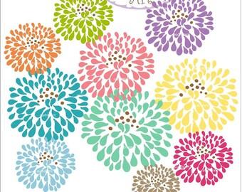 Digital clip art  for all use,12 Blossom clip art ,  instant download clip art