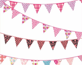 Pink Bunting Clip art _ Digital clip art  for all use,Flag Banner, Bunting clip art ,  instant download clip art