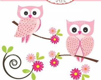 Digital clip art. for all use, Pink Owls ,  instant download clip art
