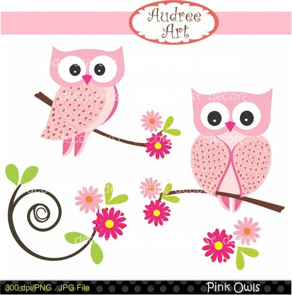 Digital clip art. for all use, Pink Owls ,  instant download clip art