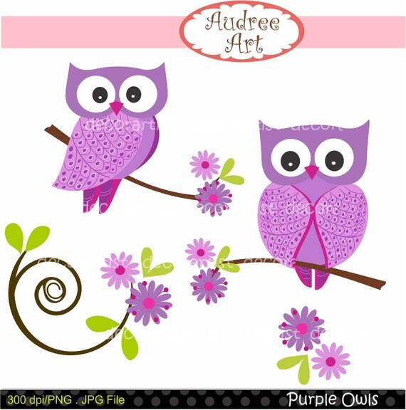 Digital clip art for all use, Purple Owls ,  instant download clip art